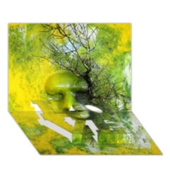 Green Mask Love Bottom 3d Greeting Card (7x5)