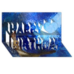 Blue Mask Happy Birthday 3d Greeting Card (8x4)  by timelessartoncanvas