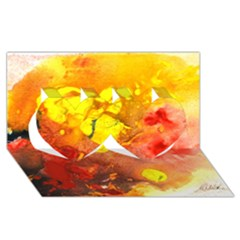 Fire, Lava Rock Twin Hearts 3d Greeting Card (8x4)