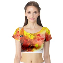 Fire, Lava Rock Short Sleeve Crop Top by timelessartoncanvas