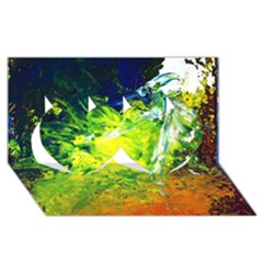 Abstract Landscape Twin Hearts 3d Greeting Card (8x4)