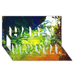 Abstract Landscape Happy New Year 3d Greeting Card (8x4)