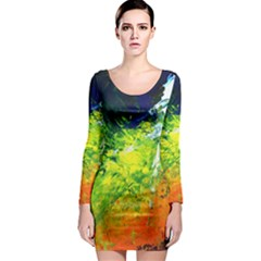 Abstract Landscape Long Sleeve Bodycon Dresses