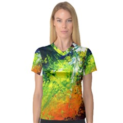 Abstract Landscape Women s V Neck Sport Mesh Tee