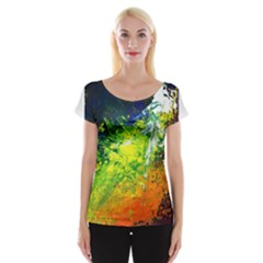 Abstract Landscape Women s Cap Sleeve Top