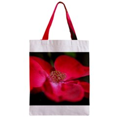 Bright Red Rose Zipper Classic Tote Bags by timelessartoncanvas