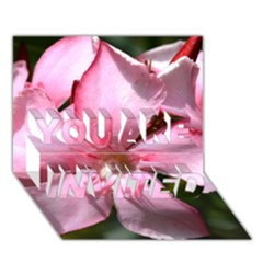 Pink Oleander You Are Invited 3d Greeting Card (7x5)  by timelessartoncanvas