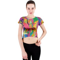 Colorful Floral Abstract Painting Crew Neck Crop Top by KirstenStar