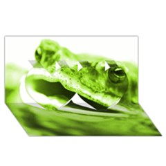 Green Frog Twin Hearts 3d Greeting Card (8x4)