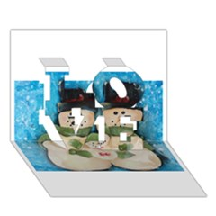 Snowman Family Love 3d Greeting Card (7x5)  by timelessartoncanvas