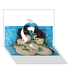 Snowman Family Ribbon 3d Greeting Card (7x5)