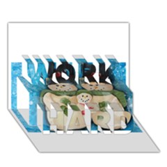 Snowman Family Work Hard 3d Greeting Card (7x5)  by timelessartoncanvas