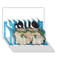 Snowman Family You Did It 3d Greeting Card (7x5) by timelessartoncanvas