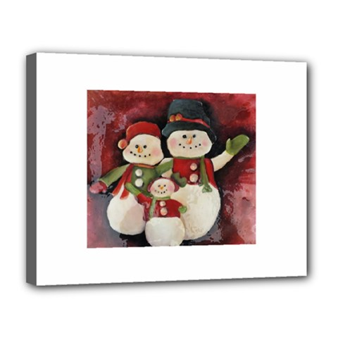 Snowman Family No  2 Canvas 14  X 11  by timelessartoncanvas