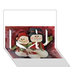 Snowman Family No  2 I Love You 3d Greeting Card (7x5)