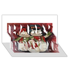Snowman Family No  2 Happy New Year 3d Greeting Card (8x4)