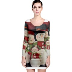 Snowman Family No. 2 Long Sleeve Bodycon Dresses