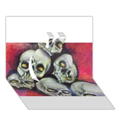 Halloween Skulls No 1 Apple 3d Greeting Card (7x5)  by timelessartoncanvas