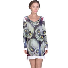 Halloween Skulls No 1 Long Sleeve Nightdresses by timelessartoncanvas