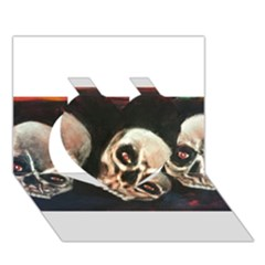 Halloween Skulls No  2 Heart 3d Greeting Card (7x5)  by timelessartoncanvas