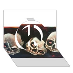 Halloween Skulls No  2 Peace Sign 3d Greeting Card (7x5)  by timelessartoncanvas