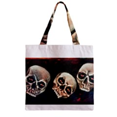 Halloween Skulls No  2 Zipper Grocery Tote Bags by timelessartoncanvas