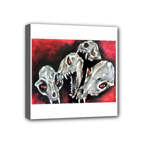 Halloween Skulls No  3 Mini Canvas 4  X 4  by timelessartoncanvas