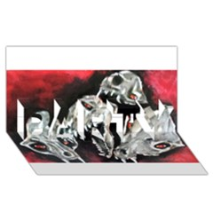 Halloween Skulls No  3 Party 3d Greeting Card (8x4)  by timelessartoncanvas