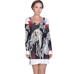 Halloween Skulls No  3 Long Sleeve Nightdresses