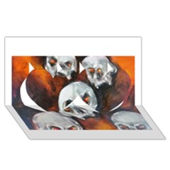 Halloween Skulls No  4 Twin Hearts 3d Greeting Card (8x4)