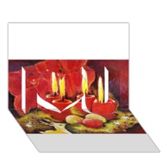 Holiday Candles  I Love You 3d Greeting Card (7x5)  by timelessartoncanvas