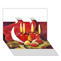 Holiday Candles  Heart 3d Greeting Card (7x5)  by timelessartoncanvas