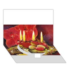 Holiday Candles  Circle Bottom 3d Greeting Card (7x5)  by timelessartoncanvas
