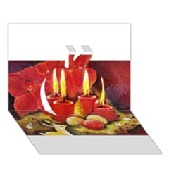 Holiday Candles  Apple 3d Greeting Card (7x5)  by timelessartoncanvas