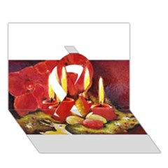 Holiday Candles  Ribbon 3d Greeting Card (7x5)  by timelessartoncanvas