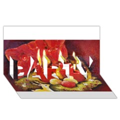 Holiday Candles  Party 3d Greeting Card (8x4)  by timelessartoncanvas
