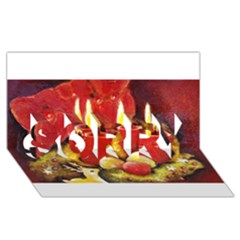 Holiday Candles  Sorry 3d Greeting Card (8x4)  by timelessartoncanvas