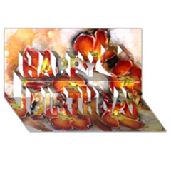 Fall Flowers Happy Birthday 3d Greeting Card (8x4)  by timelessartoncanvas