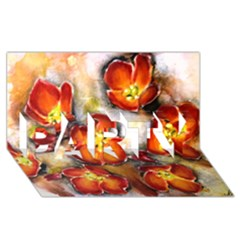 Fall Flowers Party 3d Greeting Card (8x4)  by timelessartoncanvas