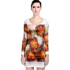 Fall Flowers Long Sleeve Bodycon Dresses