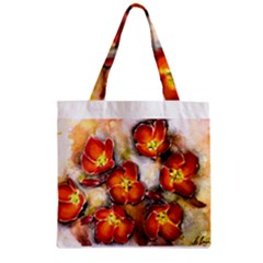 Fall Flowers Zipper Grocery Tote Bags