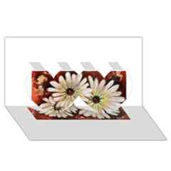 Fall Flowers No  3 Twin Hearts 3d Greeting Card (8x4)