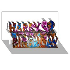 Fall Flowers No  5 Happy Birthday 3d Greeting Card (8x4)  by timelessartoncanvas