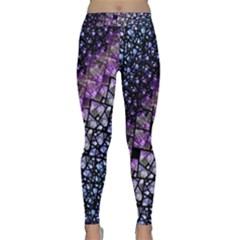 Dusk Blue And Purple Fractal Yoga Leggings  by KirstenStar