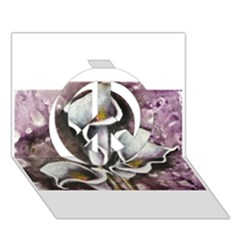 Gala Lilies Peace Sign 3d Greeting Card (7x5)  by timelessartoncanvas