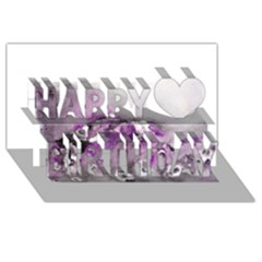 Shades of Purple Happy Birthday 3D Greeting Card (8x4)  by timelessartoncanvas
