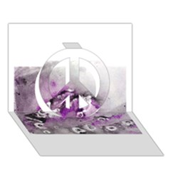 Shades Of Purple Peace Sign 3d Greeting Card (7x5)  by timelessartoncanvas