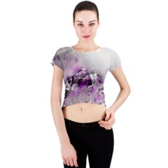 Shades of Purple Crew Neck Crop Top by timelessartoncanvas