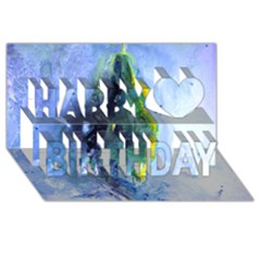 Bright Yellow And Blue Abstract Happy Birthday 3d Greeting Card (8x4)  by timelessartoncanvas