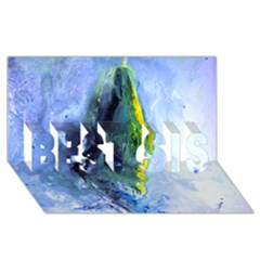 Bright Yellow And Blue Abstract Best Sis 3d Greeting Card (8x4)  by timelessartoncanvas